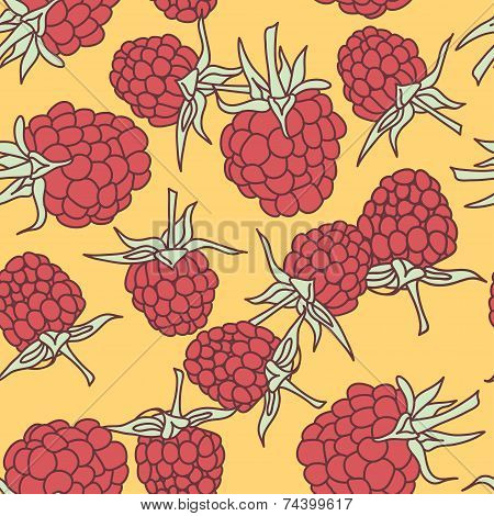 Ripe Raspberry Seamless Pettern  On Oranje Background.