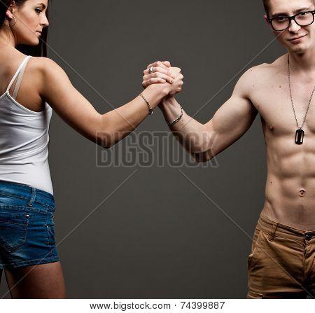 Man Vs Woman In An Arm Wrestling