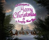 Merry christmas message against christmas village under full moon poster