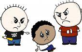 cartoon illustration of two children bullying and teasing little Hispanic kid isolated on white background poster