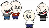 cartoon illustration of two childs bullying and teasing little kid isolated on white background poster
