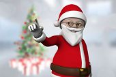 Cute cartoon santa claus against blurry christmas tree in room poster