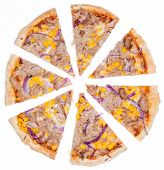 Fresh made Tuna Pizza with corn and red onions isolated on white backgroun poster