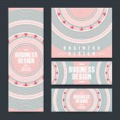 modern pink vinyl record design for banners set poster