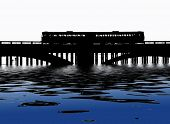Silhouette of train crossing railway bridge with flood effect poster