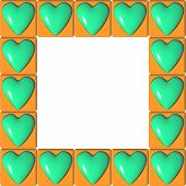 Orange picture frame their squares in which green hearts poster