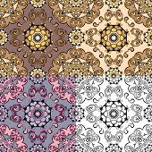 Set of squared backgrounds - ornamental seamless pattern. Design for bandanna carpet shawl pillow or cushion. poster