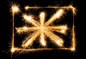 Flag of Great Britain made of sparkles on black background poster