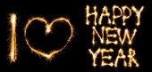 I love Happy New Year made of sparkles on black background poster