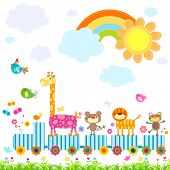 zoo train carrying happy animals in a sunny day poster