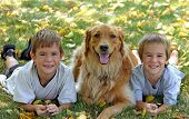 two young boys with golden retriever in middle poster
