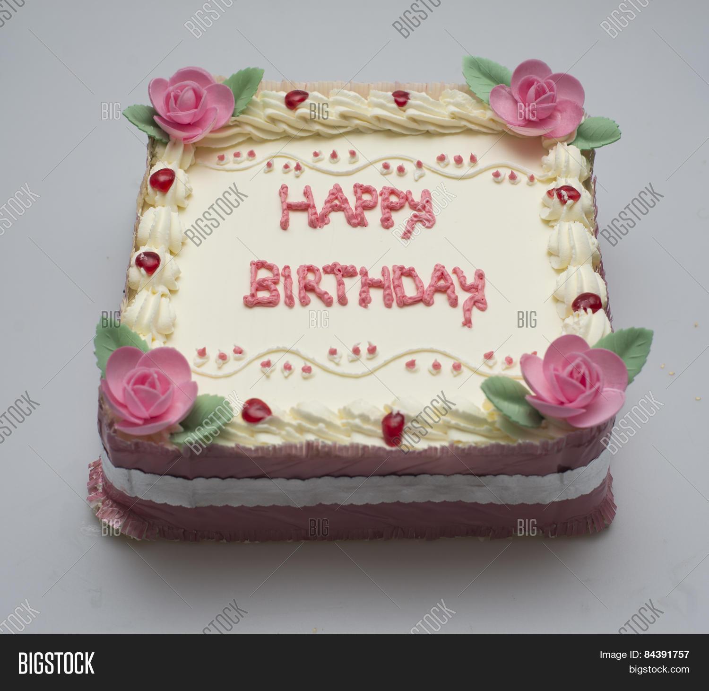 Square Birthday Cake Image Photo Free Trial Bigstock