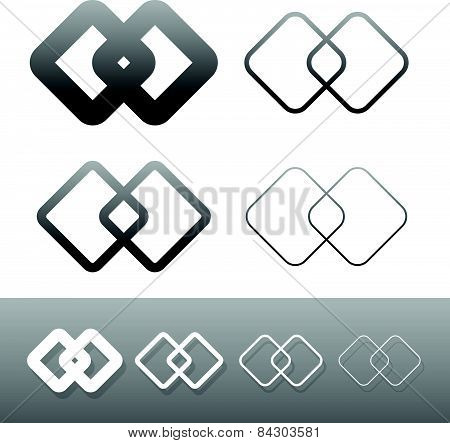 Symbolic Link Icon, Symbols. Chain Links, Connection, Combine, Compound, Intersect, Joint Concepts.