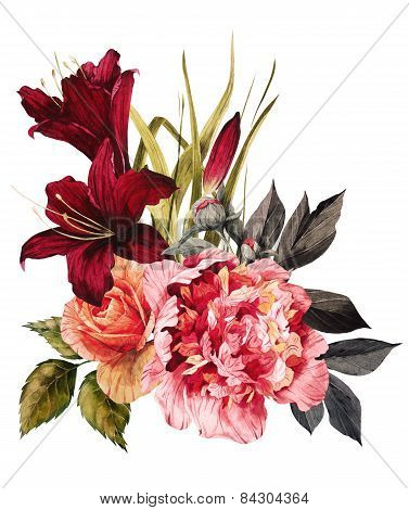 Bouquet Of Roses, Peonies And Lilies