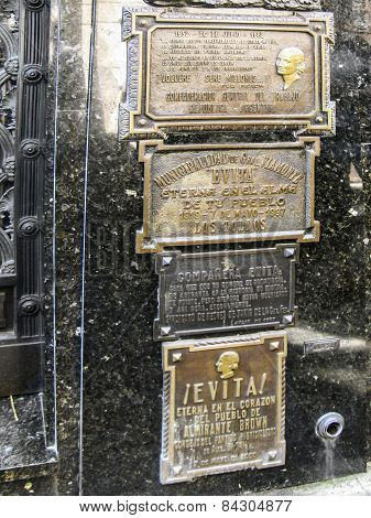 Tomb Of Eva Peron, Evita, The Famous First Lady Of Argentina