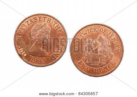 Two Pence coin from the Bailiwick of Jersey dated 1983. poster