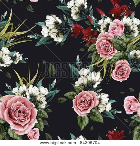 Seamless Floral Pattern With Roses And Lilies