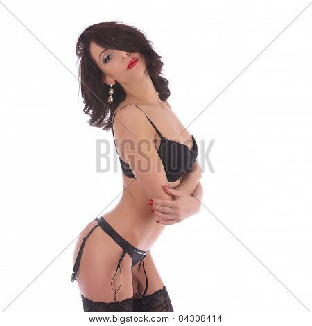 Sexy Burlesque Dancer Woman Stripper Showgirl In Studio Isolated