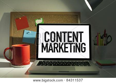 Content marketing concept with laptop in office interior poster