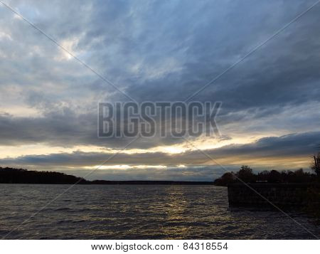Landscape, Beautiful Clouds Over The Pond