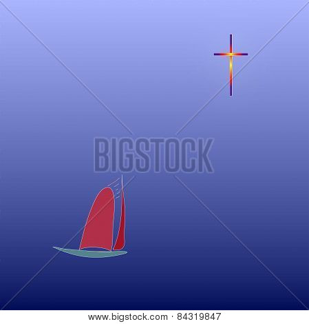 Lonely Yacht Under The Red Sail Under The Constellation Of The cross.