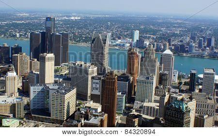 Detroit Skyline - Aerial