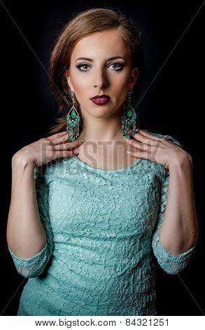 Pretty Woman Posing In Elegant Mint Green Fashion