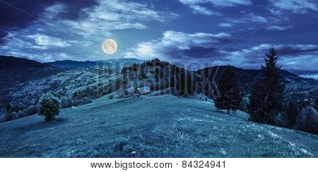 Abandoned Barn In Mountains At Night