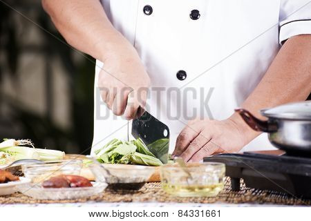 Chef Chopping Vegetable Before Cooking Noodle