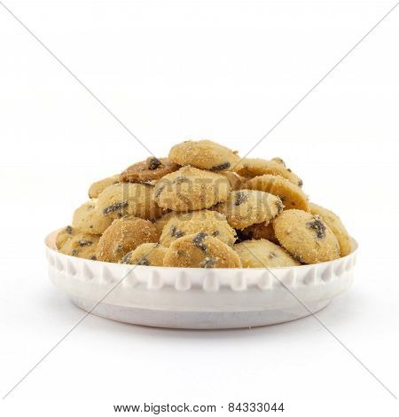 Mini Chocolate Chip Cookies Isolated On White Background