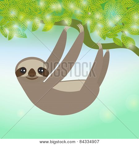 Three-toed Sloth On Green Branch. Vector