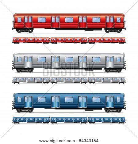 Subway Train Set Isolated On White Vector