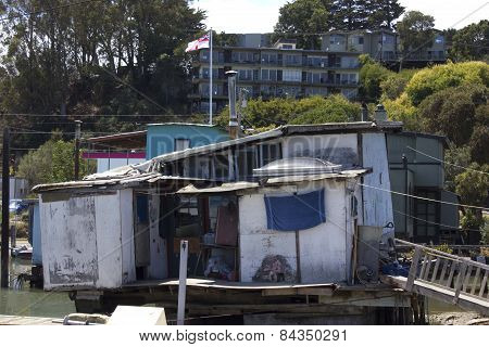 Sausalito vintage houseboat in the San Francisco Bay Area