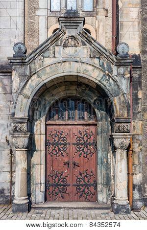 Entrance to the Lutheran Church of the Saviour in Tarnowskie Gory, Silesia region, Poland. poster