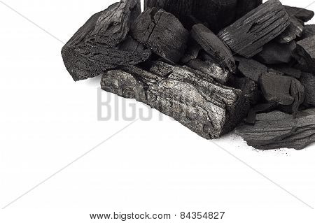 Coal mineral stone background isolated on white