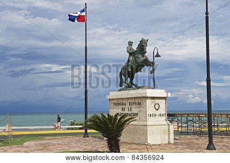 Equestrian statue to the general Gregorio Luperon in Puerto Plata, Dominican Re