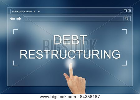 Hand Press On Debt Restructuring Button On Website