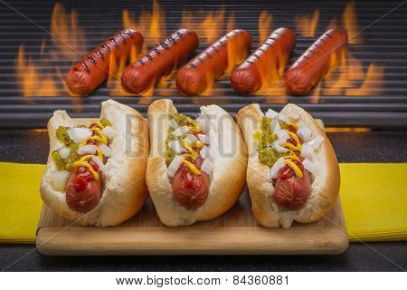 Hot Dogs on Buns and on Barbecue Grill