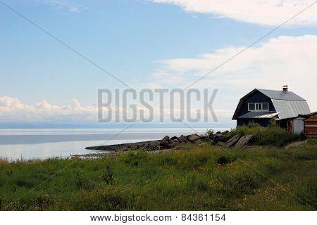 House in a village at Lake Baikal, Siberia, Russia