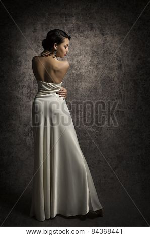 Woman Back Beauty Portrait, Elegant Lady Posing In Sexy Dress, Sensual Beautiful Girl In Long Gown
