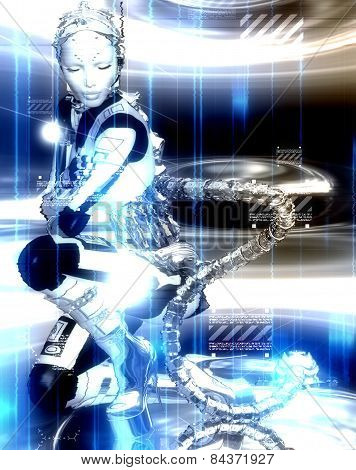 Futuristic robot girl to shows off man's creation of modern machinery and beauty combined.