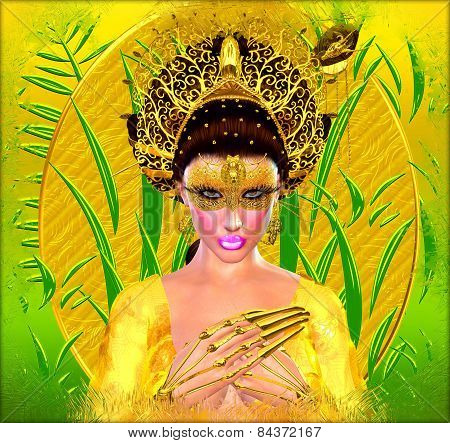 Asian princess with gold crown against a gold and green background.