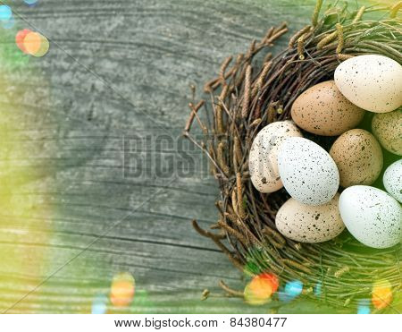 Easter Eggs In Nest On Wooden Background. Retro Style With Light Leaks