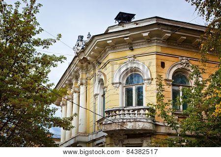 Old historic building balcony deprecated facade texture poster