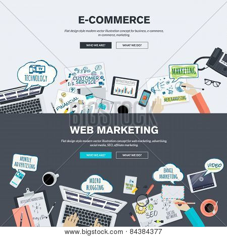Flat design banners for e-commerce and web marketing