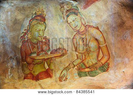 World Famous Frescos Of Ladies In Sigiriya Style