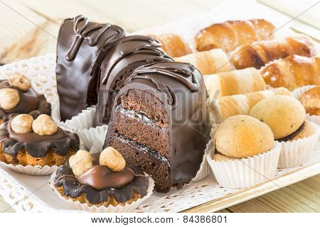 mixed chocolate slices cake and pastries