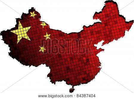 China map with flag inside