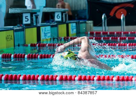 Lecco  (italy) - February 19:    Mattia Schirru  ( Italy) Performing  200 Mt Freestyle In Italian  S
