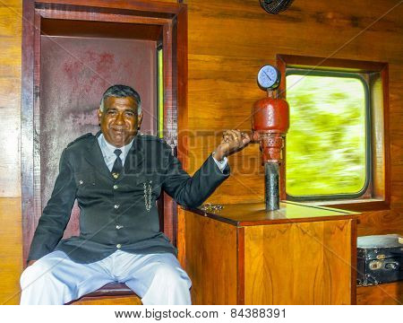 Proud Conductor In Train